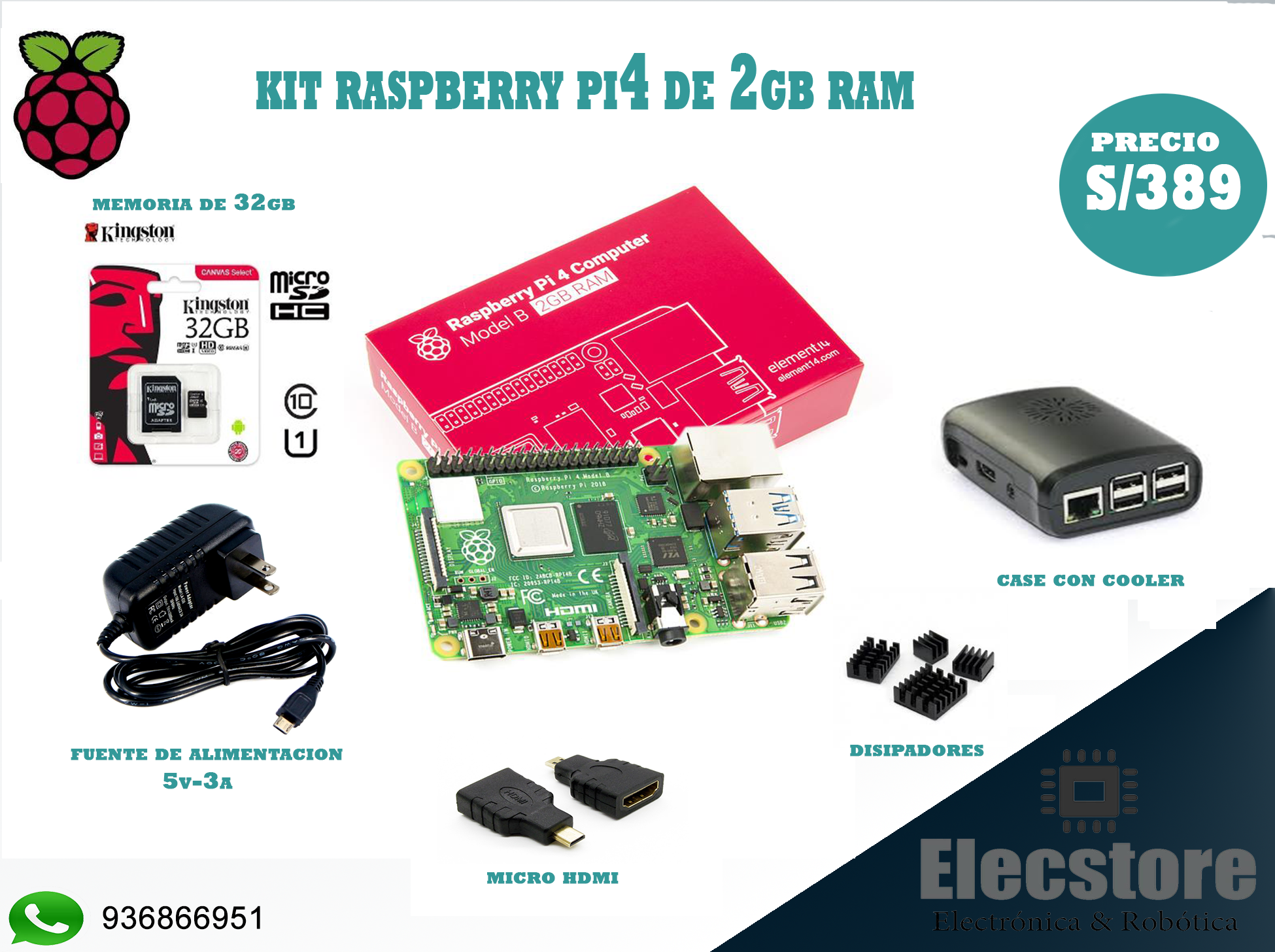 kit Raspberry pi4 de 2gb